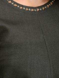 Olive-Grey Linen Dress with Asymmetrical Hem Embroidery On Kurtis, Hand Embroidery Dress, Hand Embroidery Videos, Simple Embroidery, Embroidered Clothes, Hand Embroidery Design Patterns, Kurti Embroidery Design, Chudidhar Neck Designs, Dress Neck Designs