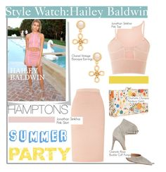 """Style Watch:Hailey Baldwin"" by nfabjoy ❤ liked on Polyvore featuring Jonathan Simkhai, Gianvito Rossi, Charlotte Olympia, Chanel, CelebrityStyle, matchingsets and haileybaldwin"