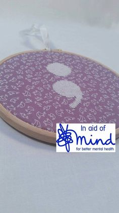 """Purple and White Semicolon Embroidery 6"""" hanging mental health charity awareness gift"""