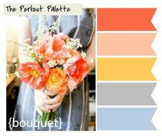 Coral, Peach, Yellow, Gray + Dusty Blue... possible general pallet