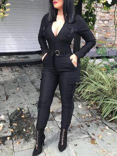 affa213dd53e Plunge Neck Pocket Design Skinny Jumpsuit With Belt. Black Jumpsuit  OutfitCasual JumpsuitFormal ...