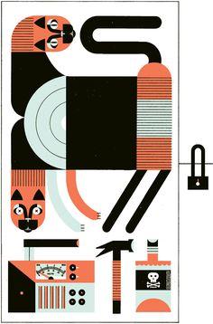 """SCHRÖDINGER's CAT"" - Raymond Biesinger Illustration Inc."