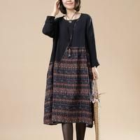 Women print cotton linen loose dress