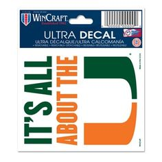 "Miami Hurricanes ""It's All About The U"" Ultra Decal 3 ""x 4""! On Sale! Available in store and online at www.CanesWear.com NOW! #MiamiHurricanes #canesWear #MiamiFanWear #itsallabouttheU #UniversityofMiami #decals #miamidecal #ultra decal"