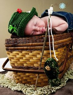 OLIVE  FLY FISHING Bucket Hat Crochet Fisherman Hat with Trout Fish Boy or Girl, SiZES Preemie Newborn Infant Toddler. $19.99, via Etsy.