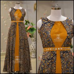Dress designer kalamkari 16 ideas for 2019 Kurti Neck Designs, Dress Neck Designs, Salwar Designs, Kurti Designs Party Wear, Stylish Dresses, Simple Dresses, Fashion Dresses, Dress Indian Style, Indian Dresses