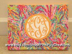 lilly pulitzer inspired colorful tropical jungle painting with monogram