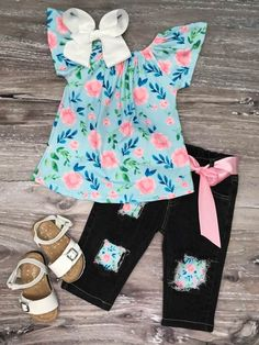 2Pcs Kid Newborn Girl Outwear Romper Cowbay Pant Jean Unicorn Tops Outfits US