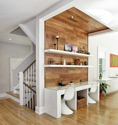 Contemporary home office - no need to take up a whole room for an office! And perfect for 2 people!