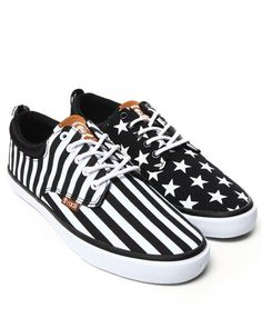 The Jax Sneakers by Radii Footwear - Black and White Stars and Stripes Pattern - #Sneakers