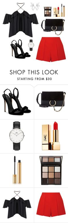"""Untitled #299"" by bajka2468 on Polyvore featuring Giuseppe Zanotti, Chloé, Daniel Wellington, Yves Saint Laurent, Trish McEvoy, Alice + Olivia and W. Britt"