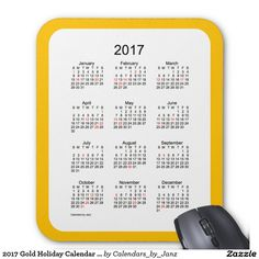 2017 Gold Holiday Calendar by Janz Mouse Pad