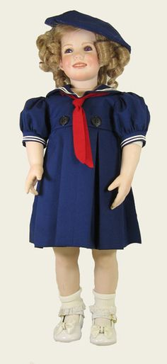 "24"" Shirley Temple Styled Sailor Doll Dress 