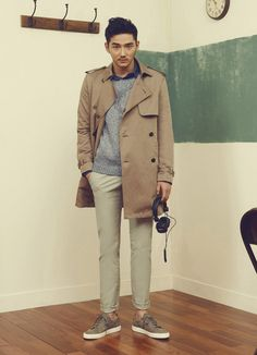 A camel trenchcoat and beige chinos are a great outfit formula to have in your…