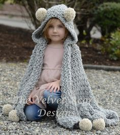 Benton Hooded Blanket Knitting pattern by The Velvet Acorn Crochet Blanket Patterns, Knitting Patterns Free, Knit Patterns, Free Knitting, Crochet For Kids, Crochet Baby, Knit Crochet, Crotchet, Velvet Acorn