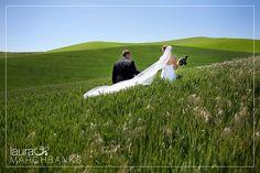 #wedding day walking through the wheat fields in Dayton, Washington. Photo by: Laura Marchbanks Photography