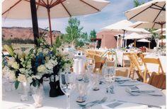 Table décor for an outdoor wedding at Tamaya.