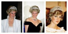In her royal role, Princess Di often wore beautiful crowns and tiaras (here in 1989 and 1987, respectively) from the royal collection.