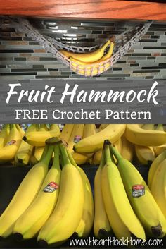 You may have a banana hanger, but what happens when you're down to one banana? Poor little thing sitting all alone on the counter. Crochet a fruit hammock!