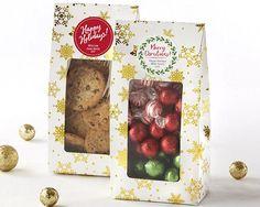 Gold Foil Snowflake Holiday Treat Bag (Set of 12)