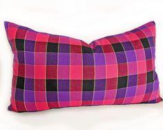 Pink Purple Lumbar Pillows, Bright Bold Check Plaid in Pink Raspberry Red Purple Plum, Girls Plaid Cushion Cover, Lumbar 12x18, 30x45 cm