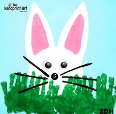 Make a peeking bunny craft with handprint grass as a fun Easter craft for kids! Includes an adorable bunny book and activity suggestion.