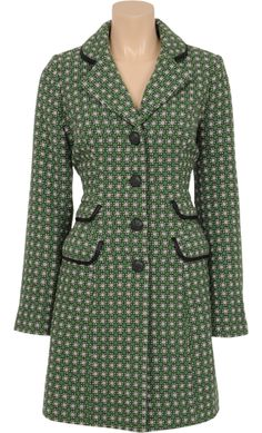 Vintage Inspired Autumn | ♡ | Peggy Coat With Wool - Pattern Thyme Green | ♡ | King Louie AW14