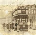 Tram Stop - Silhouettes Cross Stitch Kit from Heritage Crafts -sepia patterns Counted Cross Stitch Kits, Cross Stitch Charts, Cross Stitch Designs, Cross Stitch Patterns, Stitching Patterns, Embroidery Kits, Cross Stitch Embroidery, Cross Stitching, Cross Stitch Silhouette