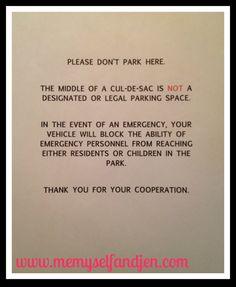 A note to rude people that park like jackasses (www.memyselfandjen.com)