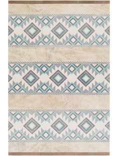 Foster Rug, Gray and Teal