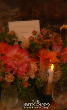 Centrotavola floreale. #red, #flower,#candle Matteo Corvino Design