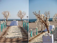 Gorgeous beach wedding ceremony setup with orchids and manzanitas