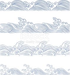 seamless ocean wave in different style