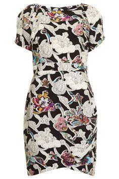 TOPSHOP Printed Drape Front Dress