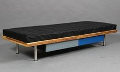 Modern Leather Daybed/Mies Couch with storage Upholstery Buff Leather with Heavy Duty Wooden Frame and Metal Legs, Black, 180 x 68 x 38 cms Leather Daybed, Leather Furniture, Luxury Furniture, Bedroom Furniture, Daybed Sets, Cheap Apartment, Bohemian Style Bedrooms, Luxury Interior Design, Living Room Bedroom