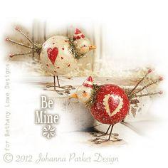 Pair of standing folk art birds by artist Johanna Parker ~ available through Bethany Lowe Designs