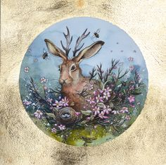 Jackalope. Watercolour, ink, pencil and gold leaf 2017