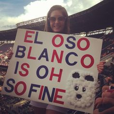 El Oso Blanco! Fan Signs, Braves Baseball, Chop Chop, Atlanta Braves, Just For Fun, Mlb, Truths, Fans, Sporty