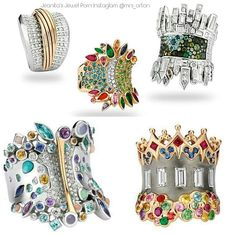 Wempe's Cosmora, of By Kim rings–inspired by cities of the world. Top left to right: Hamburg,  lgest port in Europe w 170 diamonds as the sea. Middle: Rio de Janeiro's ocean &  jungle by aquamarine & green gems; colored gems give carnival.  NY's C. Park, w gem skyscrapers & boats.  A central golden band is S. F.'s  G G Bridge; candy-colored stones her multi-colored houses. The London ring shows Abbey Road, musical heritage & monarchy.
