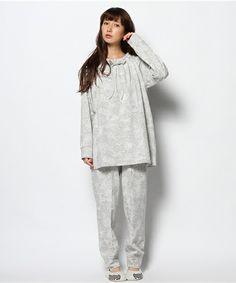 tsumori chisato SLEEP(ツモリチサトスリープ)のアニマルフェイスプリント 接結天竺 パジャマ M,Lサイズ(ルームウェア)|グレー