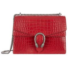 Gucci Dionysus Croc Shoulder Bag (€20.965) ❤ liked on Polyvore featuring bags, handbags, shoulder bags, crocodile purse, structured purse, gucci, red handbags and red purse