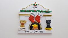 Personalized Fireplace Ornament With 2 Stockings And 2 Dogs or Cats Added by OrindasOrnaments on Etsy