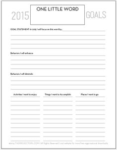 2015 One Little Word Goal Worksheet - theprojectgirl.com - tons of free organizational downloads