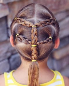 coiffure pour petite fille queue de cheval tressee elastiques jaunes #hair #kids