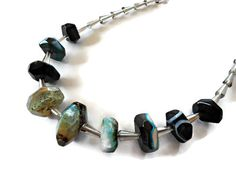 Blue agate necklace, Agate stone necklace, Crystal necklace, Gemstone bead necklace, Agate jewelry - pinned by pin4etsy.com