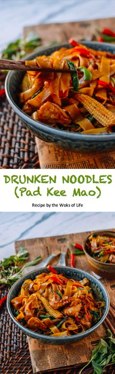 Asian Recipes, Thai Recipes, Dinner Recipes, Wok Of Life, Drunken Noodles, Woks, Dinner This Week, I Love Food, Healthy Cooking
