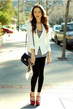 -white Queens Wardrobe jacket  -black Forever 21 leggings  -red Charlotte Russe heels  -navy top