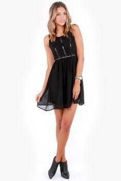 Birds of a Leather Black Dress at LuLus.com!
