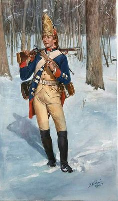 This is a grenadier of the Hessian Rall Regiment as he would have appeared in 1776 . This was one of the three Hessian regiments defeated at the battle of Trenton. Being actually a garrison grenadier regiment did they not wear mustaches (except for possibly their grenadier company) as did other German grenadiers. By Don Troiani.  https://m.facebook.com/story.php?story_fbid=1303627049712026&substory_index=0&id=104952196246190