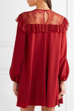 Philosophy di Lorenzo Serafini - Lace-paneled Crepe Mini Dress - Red - IT48